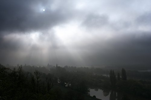 Misty morning along river Seine (France)